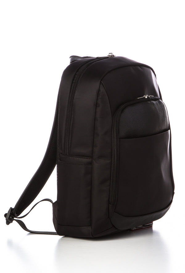 ORLANDO - Nylon/Leather Backpack  - Black