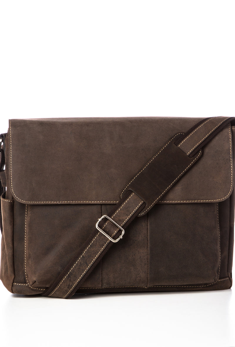 SIMON - Distressed Leather Messenger - Brown
