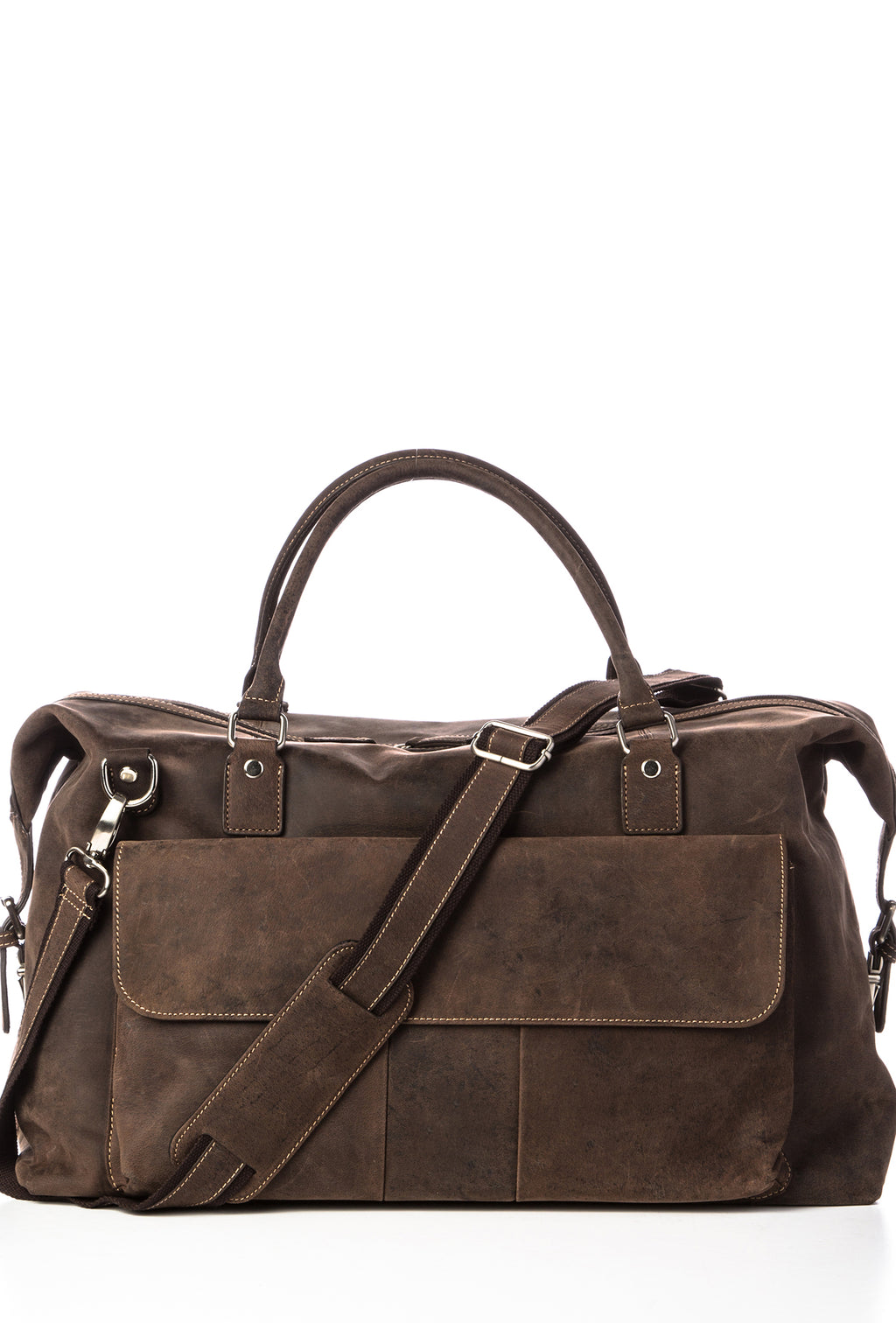 SIMON - Distressed Leather Duffel - Brown