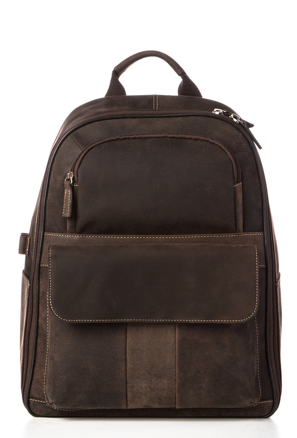 SIMON - Distressed Leather Backpack - Brown