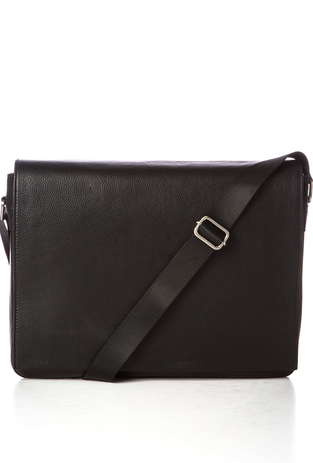 STEFAN - Pebbled Leather Messenger - Black
