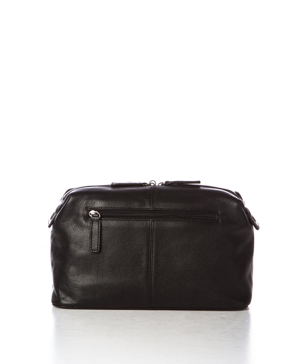 STEFAN - Pebbled Leather Travel Bag - Black