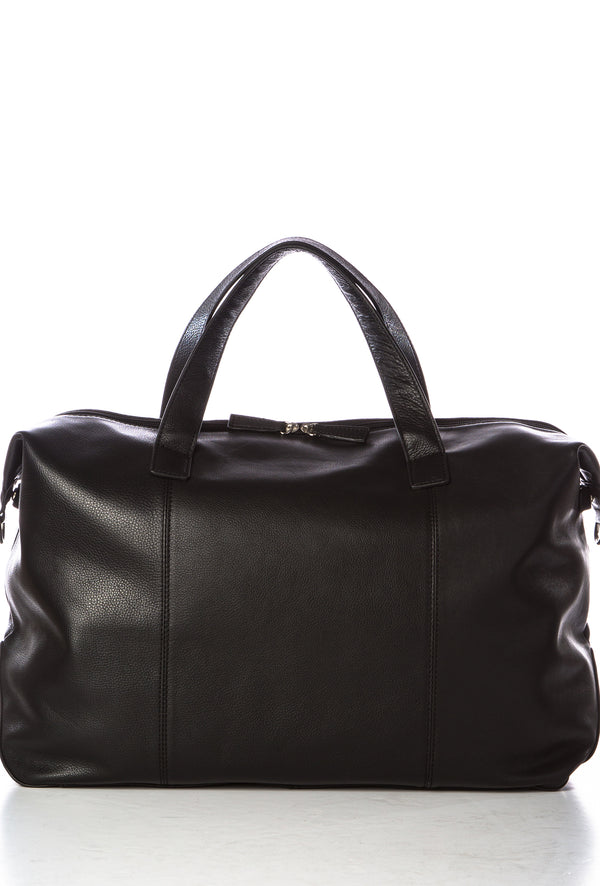 STEFAN - Pebbled Leather Duffel - Black