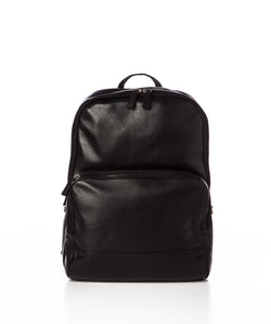 STEFAN - Pebbled Leather Backpack - Black