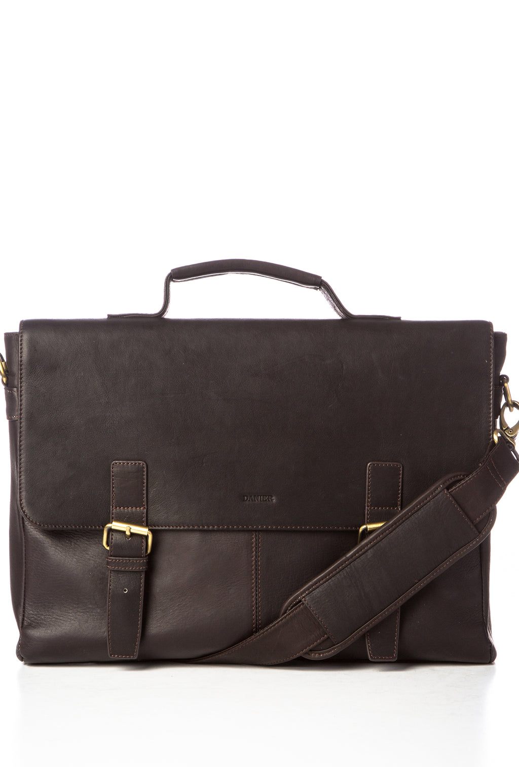 CIPRIANO - Rugged Leather Briefcase - Brown