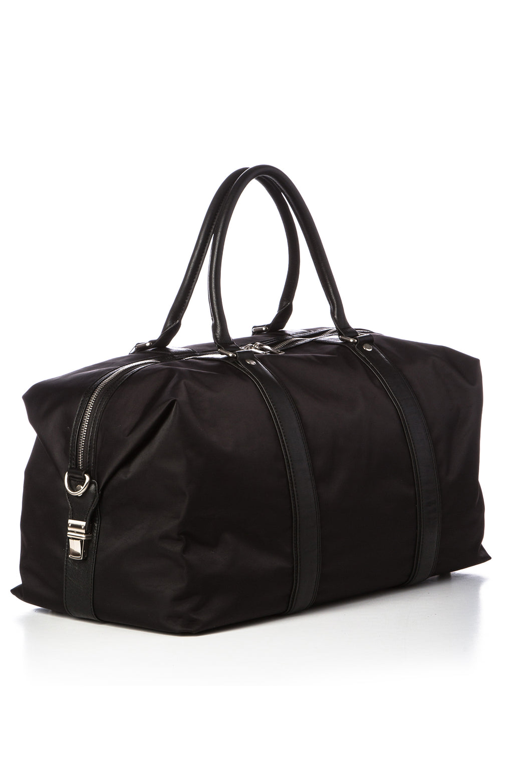 ORLANDO - Nylon/Leather Duffel - Black