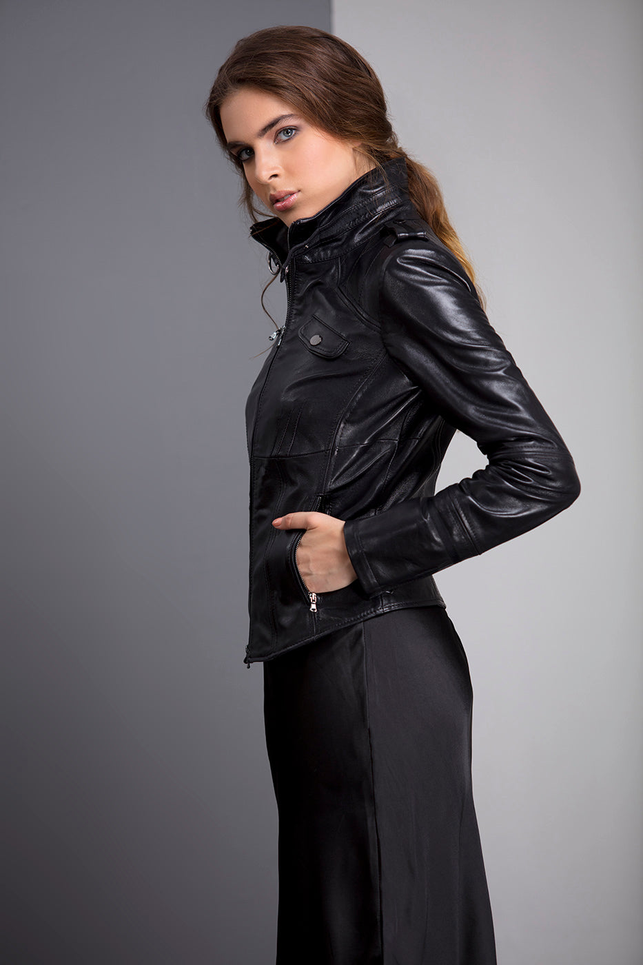 WILLOW - Grossgrain Trim Leather Jacket - Black