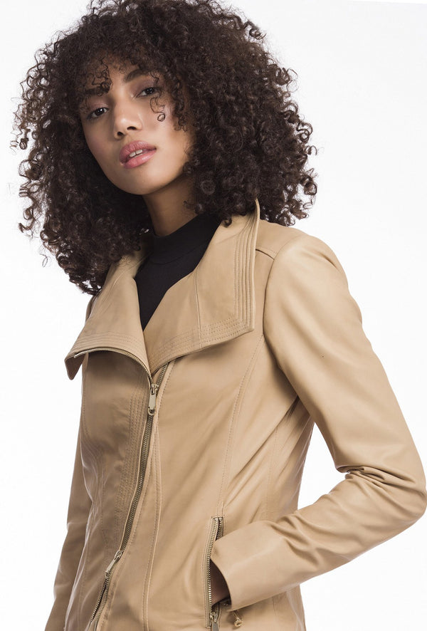 ELIZA - Stitch Collar Leather Jacket - Latte (720447799361)