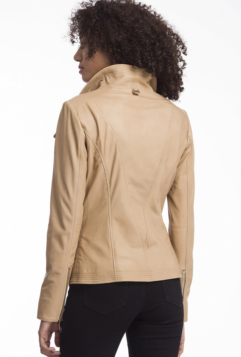 ELIZA - Stitch Collar Leather Jacket - Latte