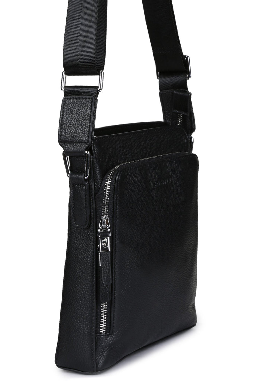 ZANOBI - Pebbled Leather Crossbody - Black