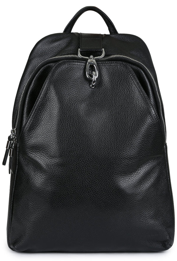 ZANOBI - Pebbled Leather Backpack - Black