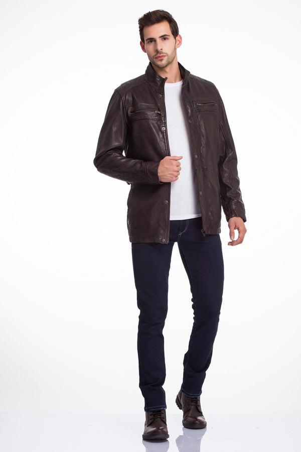 RILEY - Stand Collar Washed Leather Jacket - Dark Brown