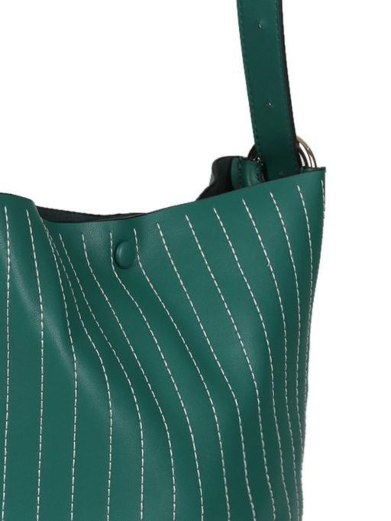 KEILA - Leather Bucket Shoulder Bag - Green