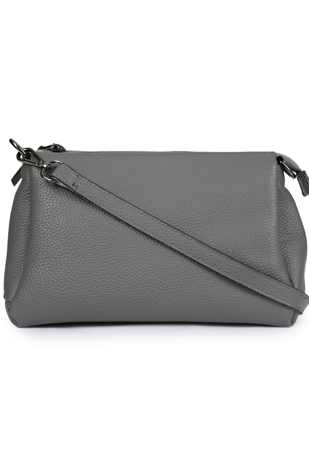 TANVI - Multi-Compartment Leather Crossbody - Light Grey