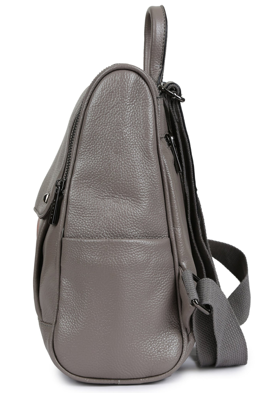 VIKAS - Pebbled Leather Backpack - Grey