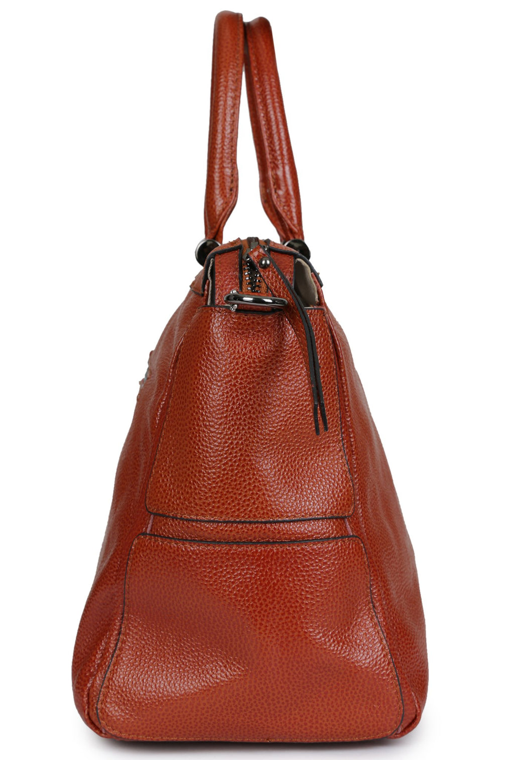 BISMA - Pebbled Leather Satchel - Burnt Orange