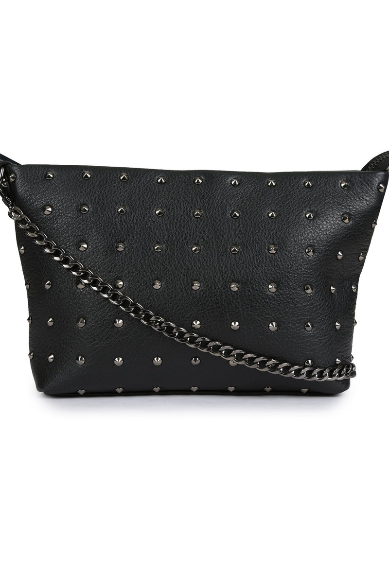 TALLIS - Leather Studded Wristlet - Black