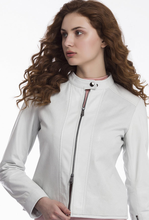 AURORA - Perforated Leather Jacket - White