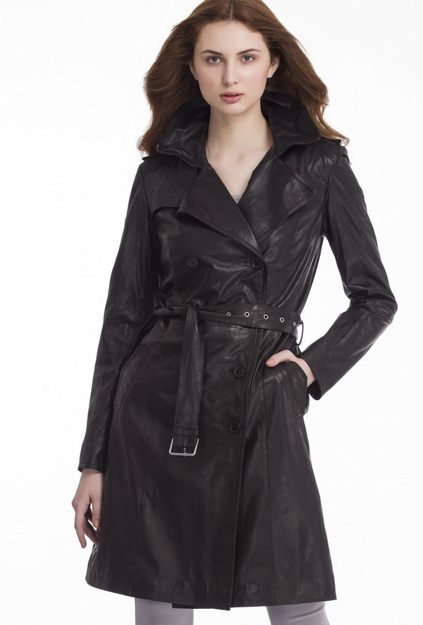 LAUREN - Classic Leather Trench Coat - Black