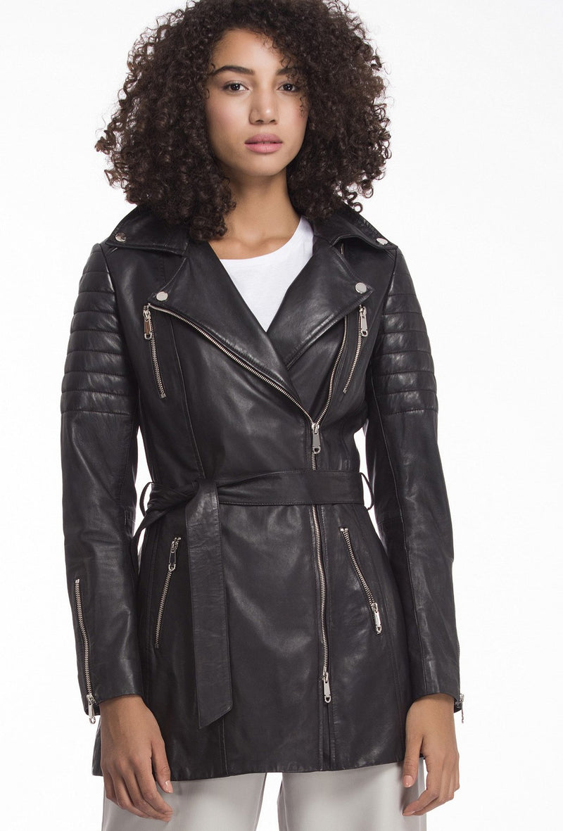 VICTORIA - Belted Leather Biker Trench - Black