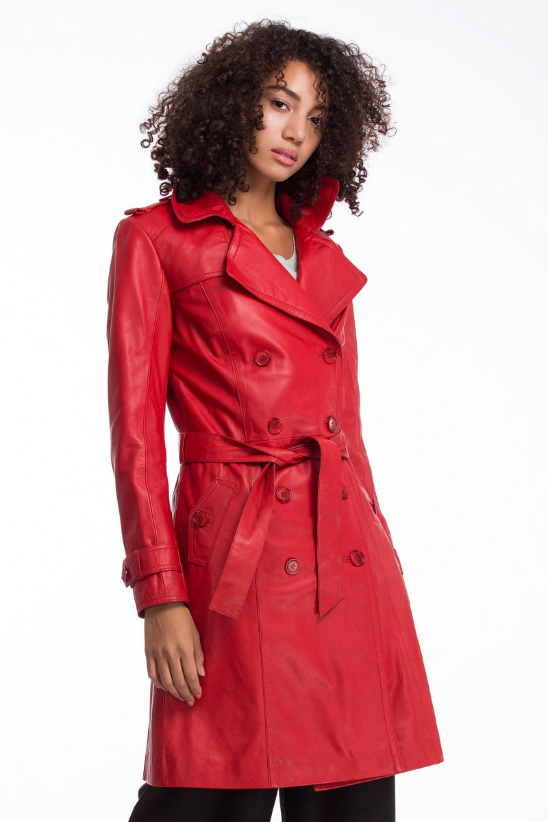 LAUREN - Classic Leather Trench Coat - Poppy Red