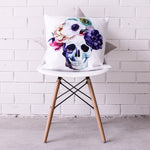 Floral Skull Cushion Cover
