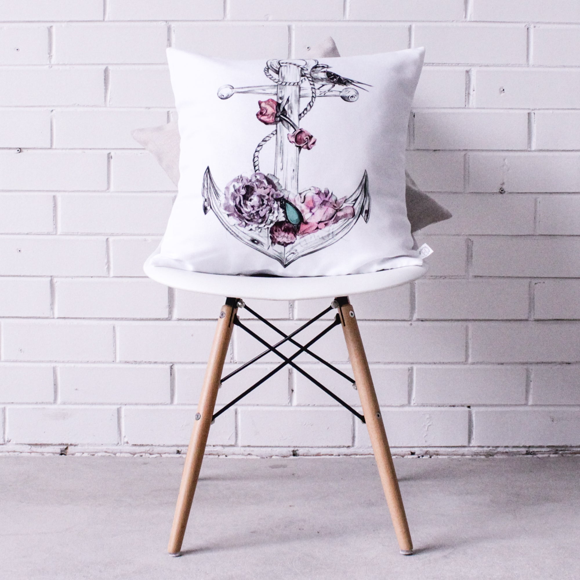 Floral Anchor Cushion Cover