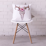 Floral Deer Skull Cushion Cover