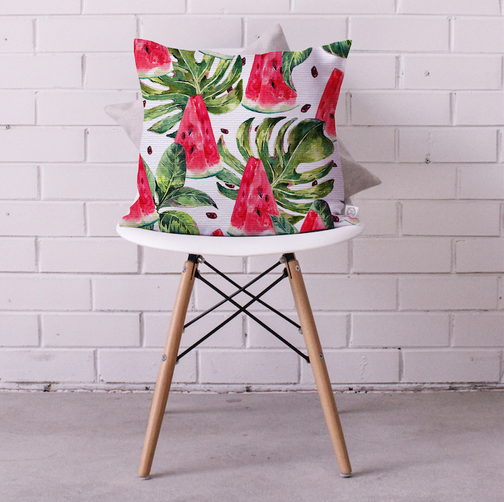 Watermelon Monstera Cushion Cover