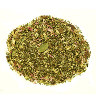 A blend of herbs, spices and flower petals reminiscent of spring.
