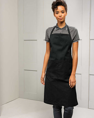 Model wearing the Polyester/Cotton Bib Apron (with pocket)