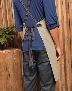 Model wearing the Cross Back interchangeable Apron straps