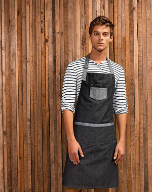 'Domain' Contrast Denim Bib Apron