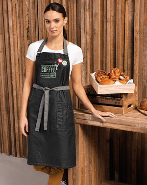 'District' Waxed-Look Denim Bib Apron