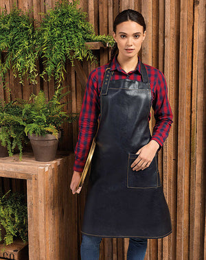 Model wearing the Faux leather Bib Apron