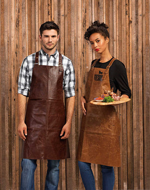 Artisan 100% Leather Cross Back Bib Apron