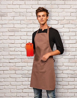 Model wearing the Colours Bib Apron with Pocket