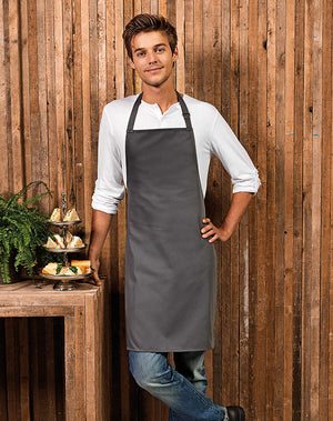 Model wearing the 100% Polyester Bib Apron
