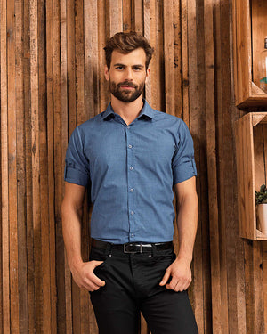 Mens' Poplin Cross-Dye Roll Sleeve Shirt