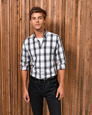 Mens' Ginmill Check Cotton Long Sleeve Shirt