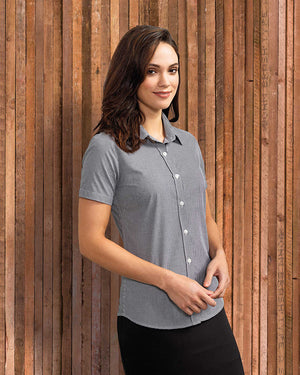 Ladies' Microcheck Gingham Short Sleeve Cotton Shirt