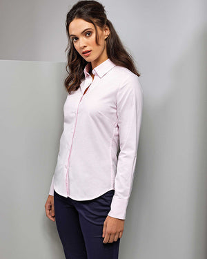 Ladies Cotton-Rich Oxford Stripes Shirt