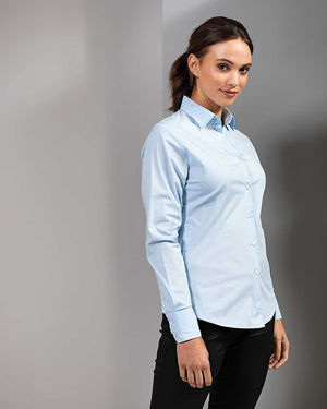 Ladies Stretch Fit Cotton Poplin Long Sleeve Blouse