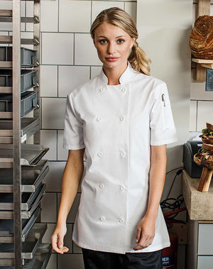 Chef wearing the Women's Short Sleeve Chef's Jacket