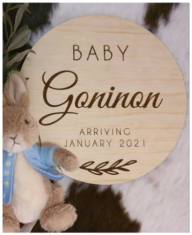 Silver Belle Design - Baby Announcement Plaque