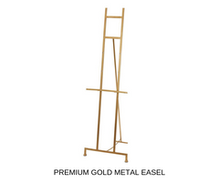 Silver Belle Design - Gold Metal Easel Hire