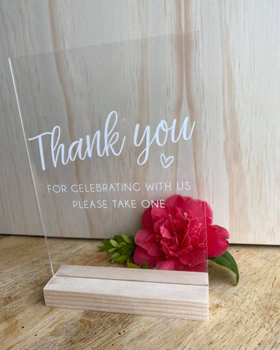 A5 Acrylic Table Sign - Thank You Please Take One - Silver Belle Design