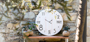 Large Timber & Acrylic Clock - Silver Belle Design