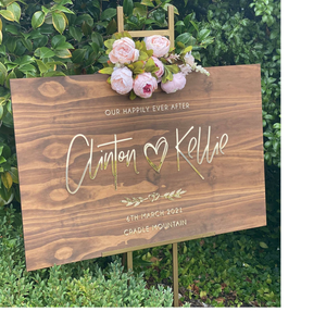 Wooden + Gold Mirror Acrylic Welcome Sign - Silver Belle Design