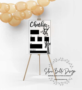Birthday Board Giraffe & Upside Down Monkey / 500Mm X 800Mm Sign